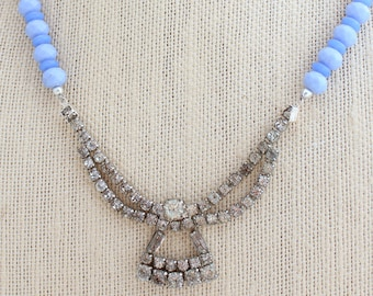 Blue Necklace, Upcycled Necklace, Pearl Necklace, Bridesmaid Gift, Rhinestone Necklace, Heirloom Jewelry, Crystal Necklace, Something Old