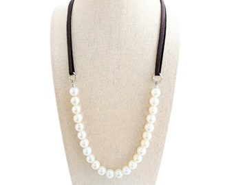 Leather and pearl layering necklace