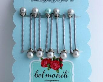Bridal Hair Pins, Bobby Pins, Pearl Hair Clip, Pearl Bobby Pin, Bridal Barrette, Bridesmaid Gift, Wedding Hair,Pearl Barrette,Something Blue