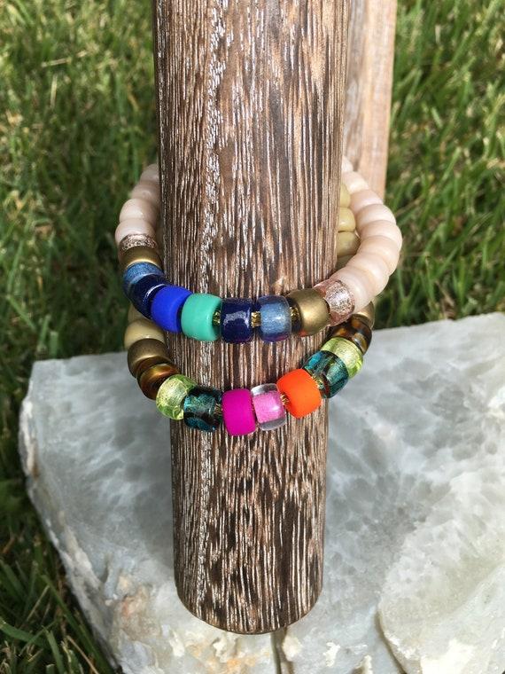 Adjustable Necklace Glass Pony Bead Necklace Big bead bracelet handmade rainbow necklace Pony Beads Big Bead Necklace 24k gold beads