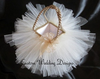 Beautiful Champagne and Ivory Tulle Flower Girl Basket. Adds a touch of class to any wedding. Comes on other colors.