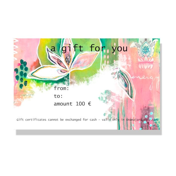 Gift Certificate Etsy Gift Card Gift Card Onamaiart Gift Original Art Gift Quick Gifts Certificate Gift Gift Ideas Gift For Her