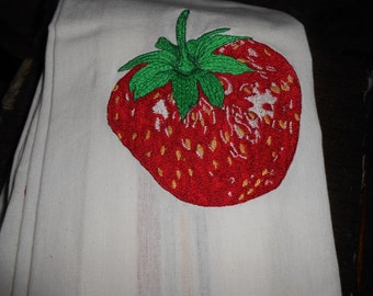 NEW kitchen Tea Towel embroidered with STRAWBERRY