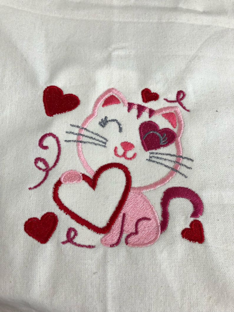 New kitchen tea towel VALENTINE day CAT with Hearts