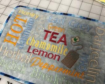 NEW Embroidered Mug RUg Mouse  pad TEA LOVERS