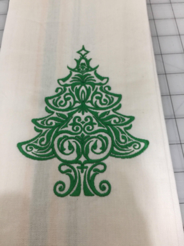 New Tea Kitchen towel embroidered Christmas damask TREE