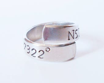 hand stamped wrap ring, aluminium ring, personalized twist ring, adjustable ring, wrap around ring, customised ring, mens ring, womens ring