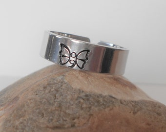 """butterfly semi colon cuff ring, 6mm 1/4"""" aluminium ring, custom stamped hidden message ring, adjustable ring, womens ring, gift for her"""