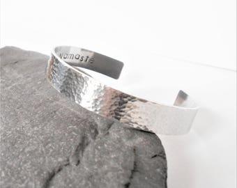 Personalised Hidden Message Cuff Bracelet, Hammered Wide Aluminium Cuff, Custom Jewelry, Womens Bracelet, Mens Cuff, Anniversary Gift