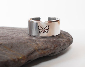 butterfly semi colon ring, handstamped aluminium cuff ring, semicolon jewelry, 10mm adjustable open ring, mens womens ring, gift for him her