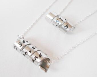 hidden message necklace, custom message handstamped aluminium necklace, personalized necklace, mens womens secret message necklace