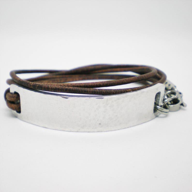 dec5129236909 Personalised Leather Bracelet, Custom Hidden Message Wrap, Hand Stamped ID  Bracelet, Couples Keepsake Gift, Valentines Gift for Him Her
