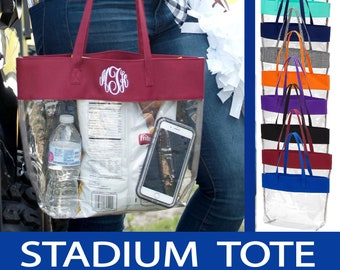 STADIUM APPROVED Monogrammed Clear Tote | Personalized Clear Tote | Football Bag Clear Stadium Purse | Game Day Tote | Clear Tote Bag