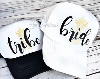 BRIDESMAID Trucker Hat | Bachelorette Bride and Tribe Hats | Bachelorette Party Pineapple Hats | Bride Tribe Hat | Beach Bachelorette