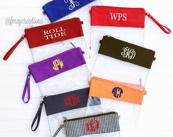 STADIUM APPROVED Monogrammed Clear Bag | Personalized Clear Purse | Football Bag Clear Stadium Purse | Game Day Clutch | Crossbody Clear Bag
