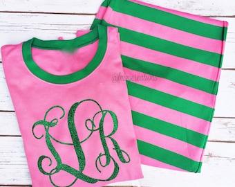 Pink and Green Pajamas | Christmas Pajamas | Pink Pajamas | Pajamas Christmas | PJS | Mommy and Me Pajamas | Girls Weekend Pajamas