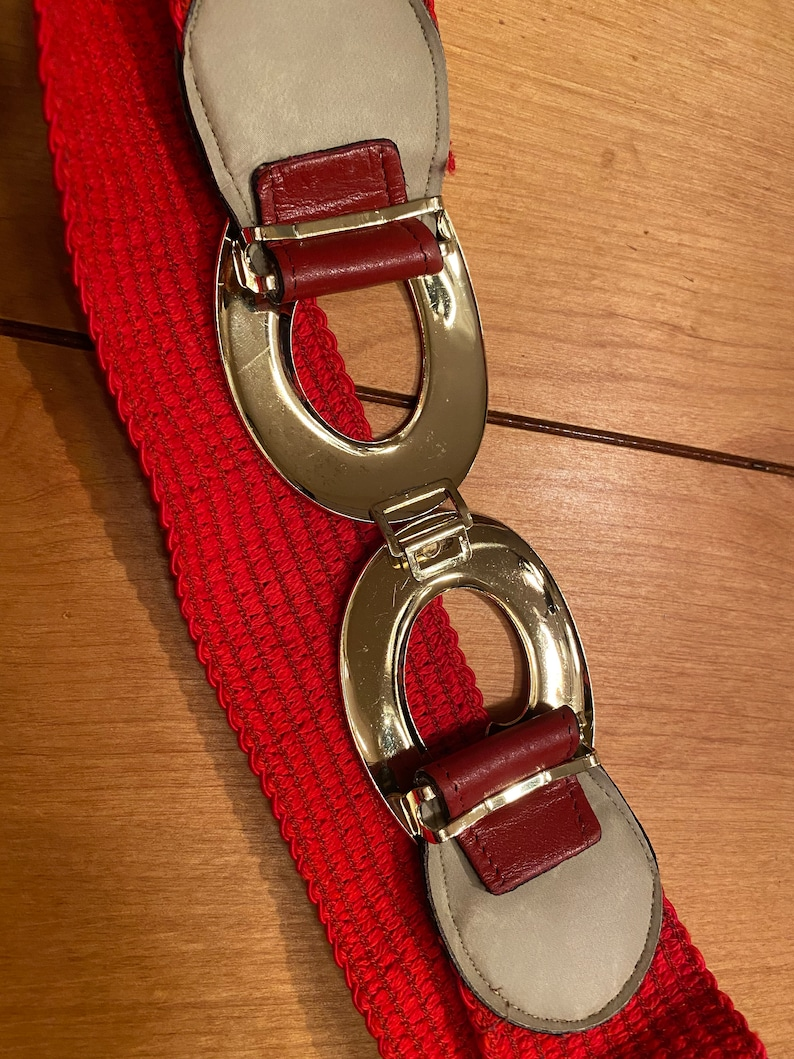 80s Red Stretch Belt with Gold Buckle