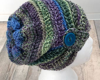 Crochet Slouch Hat with button detail