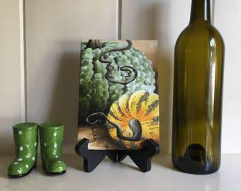 Bumpy Pumpkins original acrylic painting on canvas panel, pumpkins, squash,