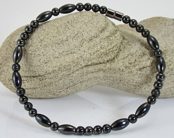 Ladies  Magnetic Magnetite Lodestone Anklet, Black Magnetite Anklet 6 mm Rice Anklet, Magnetic Jewelry, Magnetite Jewelry, Therapeutic
