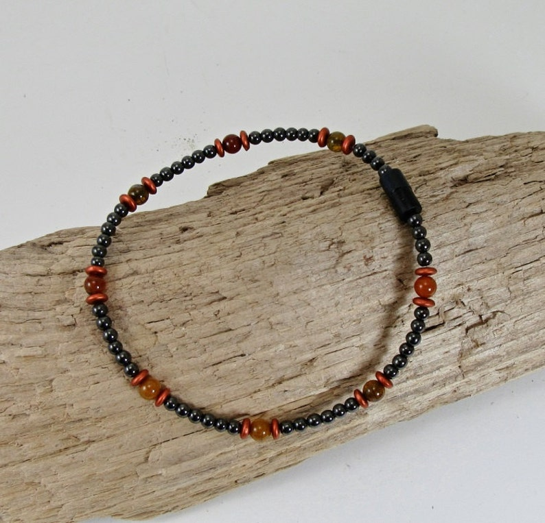 Magnetite Jewelry Ladies Magnetic Magnetite Lodestone Anklet Magnetic Jewelry, Black Magnetite,Burnt Orange Dragon Vain Agate Anklet
