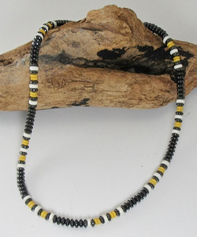Unisex Magnetic Jewelry Necklace Navajo Design Yellow /& White Bone Brazilian Magnetite Lodestone Magnetite Jewelry drug free pain relief