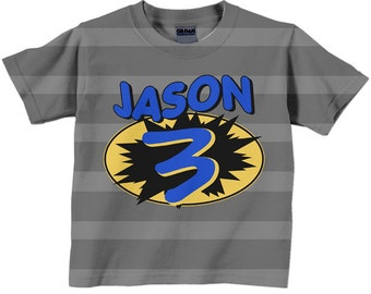 Superhero Birthday Shirt Personalized Gray And Black Boys Super Hero Cape Number T