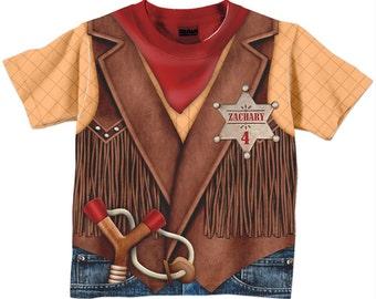 4dfd99b34 Cowboy Shirt, Personalized Childrens Western Birthday T-Shirt, Boy or Girl  Cowboy Birthday Shirt, Old West Sheriff TShirt