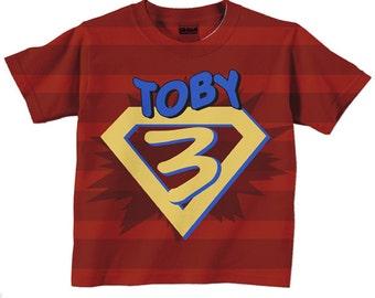 Superhero Shirt Personalized Boys Red Super Hero Birthday T Costume With Cape