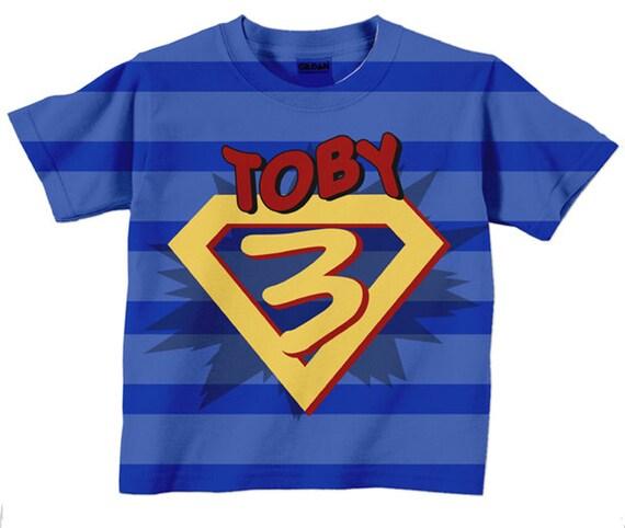 Superhero Birthday Shirt Personalized Boys Super Hero Number