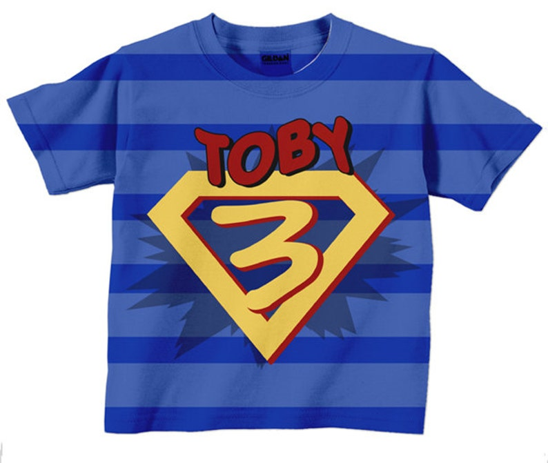Superhero Birthday Shirt Personalized Boys Super Hero Number