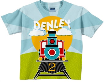 Boys Cute Train T-Shirt, Personalized Birthday Number, Steam Engine Shirt, Top