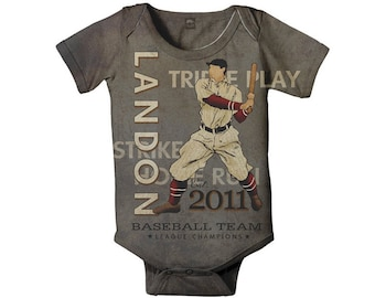 Personalized Baseball Baby Bodysuit, Baby Boy Romper One Piece, Custom Onepiece, Infant Clothing