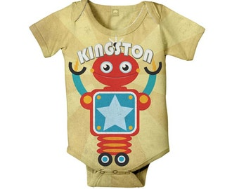 Robot Bodysuit - Personalized Baby Boy Infant SnapShirt One Piece, Custom Onepiece Baby boy's Clothing