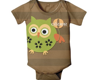 Personalized Boy's Owl Baby Bodysuit, Monogrammed One Piece Outfit, Custom Onepiece, Baby Boy Clothing