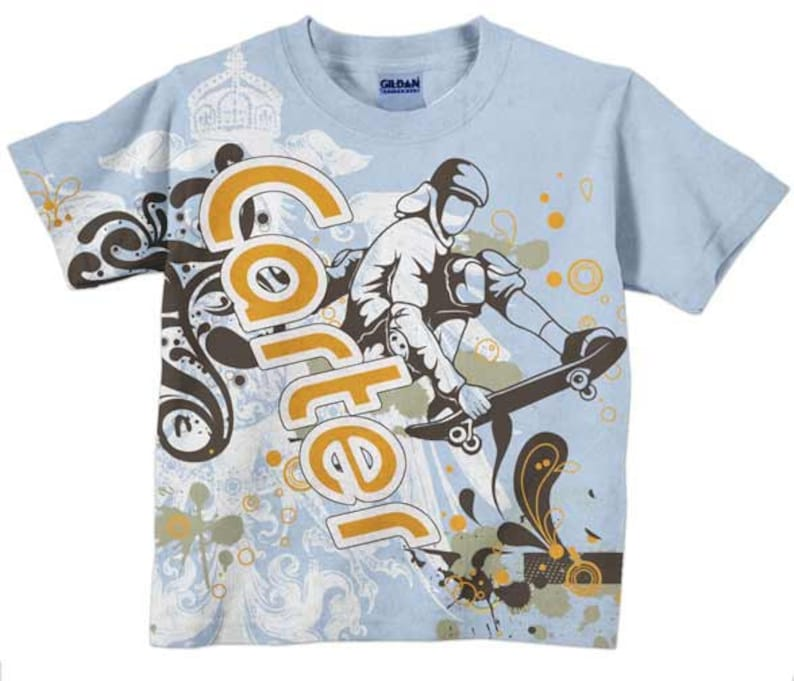 fe04165594 Boys Skateboard Shirt, Personalized Boys T-Shirt, Clothing