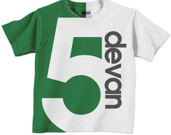 Boy's Birthday Shirt, Personalized Childrens Number T-Shirt, 1st 2nd 3rd 4th 5th 6th 7th 8th 9th