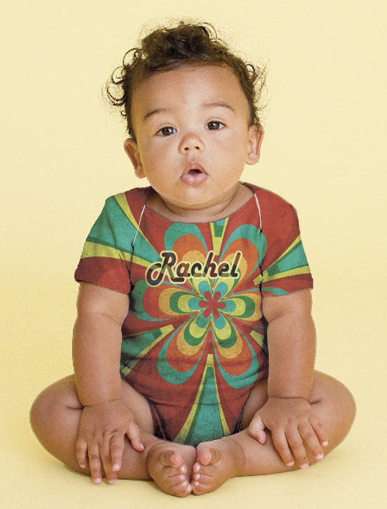 Personalized Baby Girl/'s Snapsuit Rainbow Flower Bodysuit