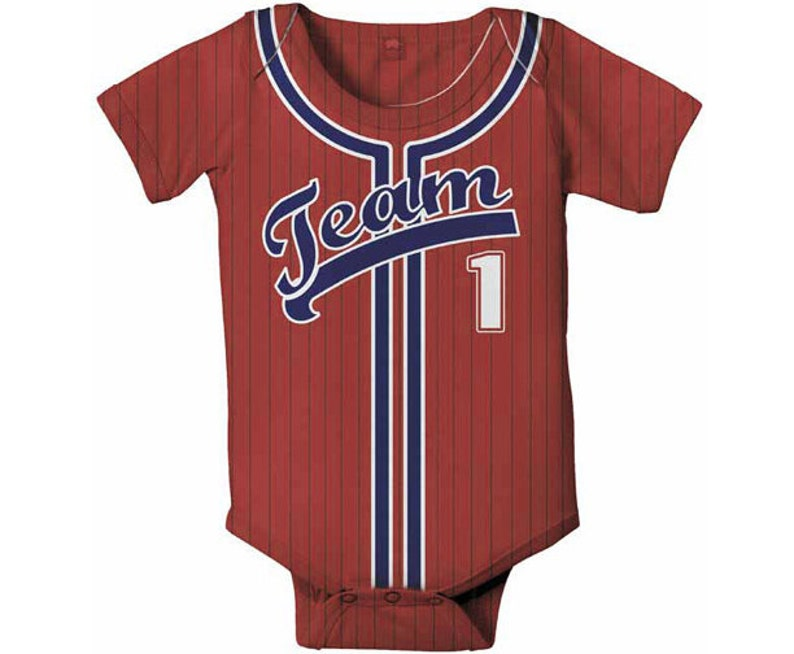 7d5d4f0ce Personalized Baby Baseball Jersey Onepiece Bodysuit Baby Boy
