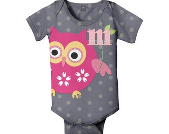 Personalized Owl Bodysuit, Baby Pink Owl Infant Romper, Custom One-Piece