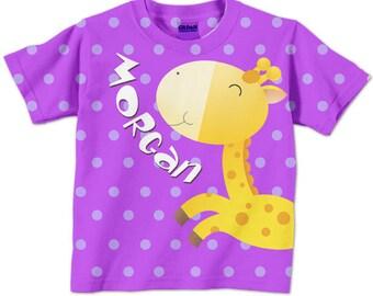 Girl's Giraffe Shirt, Personalized Girts Top, Children's Clothing