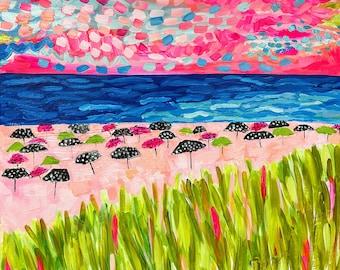 "Acrylic Painting, Pink Sand Beach, 20""x20"""