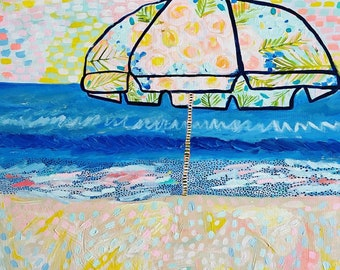 """Acrylic Painting, Paradise Umbrella, 20""""x20"""" shipping included in cost"""