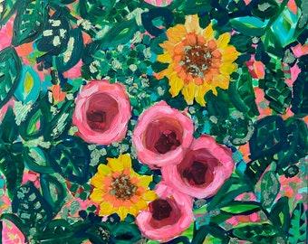 "Sunshine and Flowers, original golf leaf acrylic painting, 20""x20"""