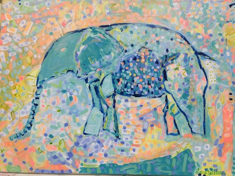 Elephant Painting Little Big Dreamer 18x24 image 1