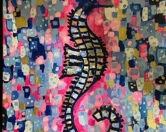 """Large pink blue and gold seahorse painting 18""""x24"""""""