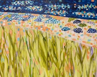 Wave Riding Day, 24''X18'' Original Beach Painting