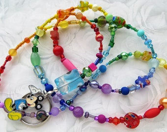 415cc78adc4 RAINBOW MICKEY- Beaded ID Lanyard- A Kaleidoscope of Beads- Lampwork