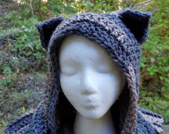 6eec7f69662 Hooded Scarf with Fixed Cat Ears in Grey Brown and Slate Blue