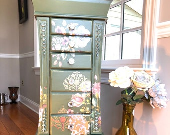Meet Gloria, Romantically Restyled Jewelry Armoire with Vintage Flair Florals and Harlequin